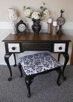 Table with French Script, black, wood top, bench seat