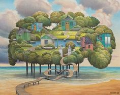 Art Surrealism - Jacek Yerka - Lamb of Helgoland Fantasy Landscape, Fantasy Art, Realism Artists, Surreal Artwork, Observational Drawing, Magic Realism, Art Database, Naive Art, Conceptual Art
