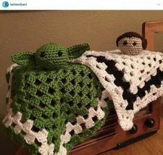 "Crochet Star Wars ""lovey"" blankies for kids - Yoda and Princess Leia - Love this idea!!"