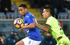 Luis Muriel of Sampdoria and Erick Pulgar of Bologna during the Serie A match between UC Sampdoria andv Bologna FC at Stadio Luigi Ferraris on February 12, 2017 in Genoa, Italy.