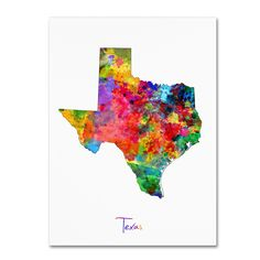Texas Map by Michael Tompsett Graphic Art on Wrapped Canvas