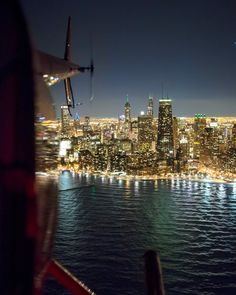 Chicago from a helicopter over Lake Michigan