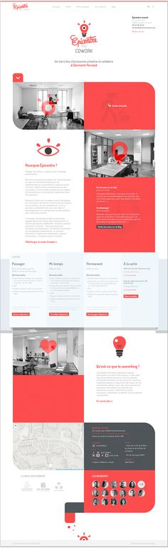 Web design / Responsive one pager advertising a co-working office space in Clermont-Ferrand, France. Mobile Web Design, Web Ui Design, Responsive Web Design, Page Design, Graphic Design, Website Layout, Web Layout, Layout Design, Interface Web