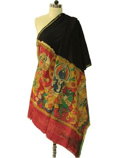 Black - Red Chanderi Kalamkari Dupatta