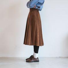 nyn-ja: accordion suede skirt (3 color), kuchimachi