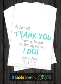 WKB49  Thank You Wedding Favor Bags Wedding by SticklerForStickers