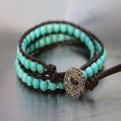 Mens Leather Wrap Turquoise Bracelet Cortez