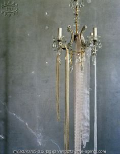 chandelier with ribbons and lace...love this look