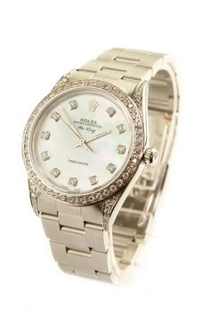 #Rolex Air-King gents stainless steel watch with automatic movement and stainless steel bracelet. Featuring mother of pearl dial, diamond bezel and lugs.