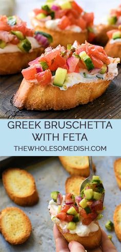 Greek Bruschetta With Feta – The Wholesome Dish Greek Bruschetta With Feta – This great appetizer recipe is toasted bread topped with a creamy feta spread and topped with crunchy veggies coated in Greek vinaigrette. Greek Appetizers, Appetizer Recipes, Good Appetizers, Tapas, Greek Vinaigrette, Greek Dinners, Cooking Recipes, Healthy Recipes, Healthy Food