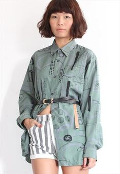 Vintage Abstract Pattern L/S Shirt