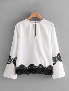 Ladies blouse with long sleeves and embroidery works. Teen Fashion Outfits, Hijab Fashion, Fashion Dresses, Cute Blouses, Blouses For Women, Baby Girl Dress Patterns, Girls Blouse, Embroidery Fashion, Mode Hijab