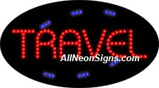 """Animated Travel LED Sign-ANSAR24082  15""""x27""""x1""""  Animated  8lbs  Indoor use only  Low energy cost: Uses ONLY 10 Watts of power  Expected to last at least 100,000 hrs  Cool and safe to touch, low voltage operation  High visibility, even in daylight  Easy to clean, Easy to install, Slim & Light Weight  Maintenance FREE  1 YEAR Warranty."""