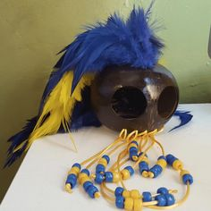 Large Makini Warrior Helmet, Yellow and Blue Feathers