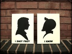 Star Wars Wall Art Stencil on Canvas - Han Shot First and Greedo knows. Ha! I love this.