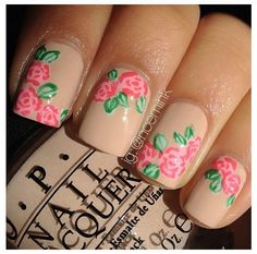 Nail art START W/ A CIRCLE THEN ADD THE DARKER DETAILS FOR A PETTLE LOOK