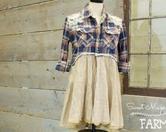 Flannel Shirt - Tunic - Boho Clothing - Upcycled - Womens Sm. A- Line Style Empire Waist - Jacket , Blue Plaid Vintage Lace Doily Back