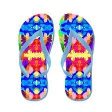 Rainbow Kaleidoscope Butterflies flip flops Flip Flops by Khoncepts