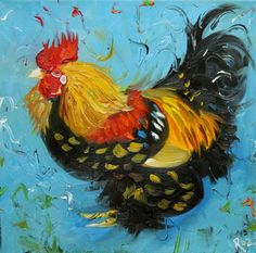 What is it about rooster art that is so captivating? Chicken Painting, Chicken Art, Rooster Art, Chickens And Roosters, Hens And Chicks, Galo, Pastel, Animal Paintings, Bird Art