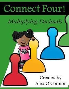 FREE Connect Four: Multiplying Decimals math game for upper grades! Includes six game boards and 16 playing cards. Fun way for students to practice multiplying decimals in a small group/partner activity. Great to use in math workshop!