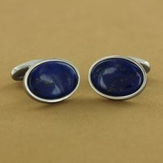 Stainless Steel Lapis Oval Cuff Links $129.00