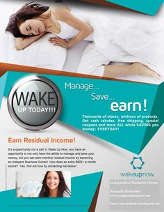 Do you know what Residual Income is and how it can work in your favor? check out how you can Save, Manage and Make Money http://jcharles05.wakeupnow.com