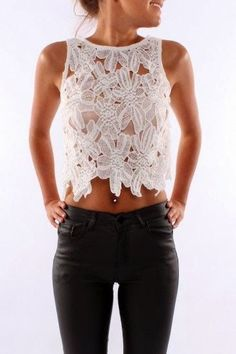 Adorable white floral top style