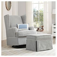 From Target - Eddie Bauer® Upholstered Wingback Swivel Glider - Gray