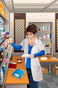 Buy Pharmacist Working in the pharmacy by artisticco on GraphicRiver. A vector illustration of pharmacist working in the pharmacy drugstore. Vector illustration, zip archive contain eps Pharmacy Student, Pharmacy School, Pharmacy Design, Pharmacy Humor, Medical Drawings, Medical Art, Medical Icon, Lab Humor, Chemistry Art