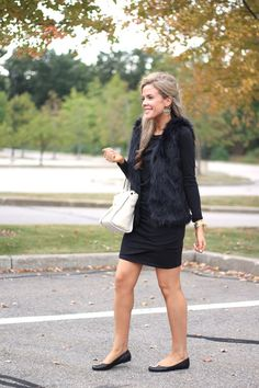 One Black Dress – Styled Two Ways. Faux Fur Vest with Rory Burch Reva Flats