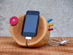 Hand painted iPhone Wood Stand Wooden iPhone Docking Station Live Edge Wooden iPhone Charging Station on Etsy, $169.00
