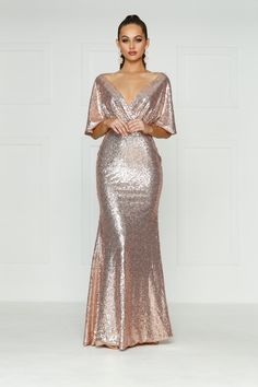 A&N Lily - Rose Gold Sequins Dress with Cape Sleeves and Mermaid Train – A&N Luxe Label Rose Gold Gown, Rose Gold Sequin Dress, Sequin Gown, Rose Gold Wedding Dress, Rose Gold Dresses, Rose Gold Evening Gown, Sparkly Dresses, Evening Dresses, Prom Dresses