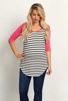Stay always stylish in this casual maternity top. A classic striped print perfect for any season, and a colorblock sleeve for a trendy detail. Style this top with maternity jeans and flats for a chic look.