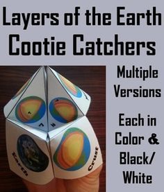These cootie catchers of the layers of the Earth are a great way for students to have fun while learning about each layer of the Earth. Playing directions and folding Directions (with pictures) are Included.
