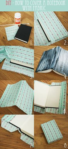 diy how to cover a notebook with fabric
