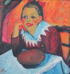 Max Pechstein, Mädchen am Tisch, 1910