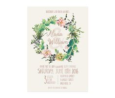 Cactus Wedding Invitation Succulents Wedding Invite by NKDNAprints