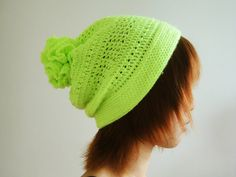Hand Crocheted Unique Flower Pom Pom Hat in Neon Green by lapuzelo