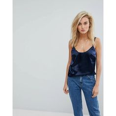 Moss Copenhagen Cami Top In Hammered Satin Co-Ord (500 ZAR) ❤ liked on Polyvore featuring tops, navy, satin tank top, camisole tank top, satin cami, layering tank tops and navy blue camisole