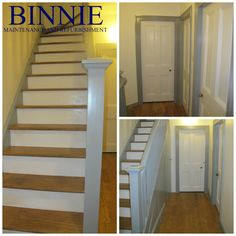 A crisp, fresh and modern entryway to a home after we completed the project. Binnie Maintenance and Refurbishment Ltd. Modern Entryway, Refurbishment, Crisp, Stairs, Projects, House, Ideas, Home Decor, Restoration
