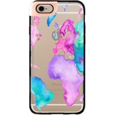 iPhone 6 Plus/6/5/5s/5c Metaluxe Case - Modern pink purple green travel world map globe bright watercolor paint  by Girly Trend