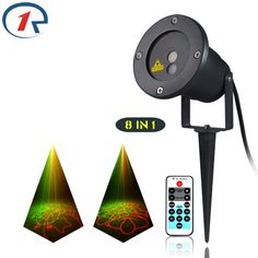 ZjRight IR Remote Christmas 8 patterns Red Green laser light outdoor lawn party projection stage light bar KTV disco dj lighting #Affiliate
