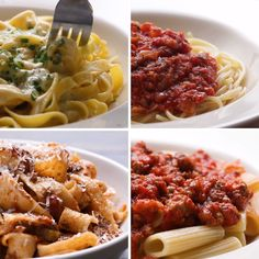 One top sauces 4 ways easy pasta sauce, pasta sauces, pasta dishes, pasta. Tasty Videos, Food Videos, Pasta Recipes, Cooking Recipes, Healthy Recipes, Dinner Recipes, Eat Healthy, Dessert Recipes, Desserts