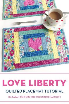 how to make a hand quilted placemat with a heart center from liberty fabrics Small Quilts, Mini Quilts, Quilting Tutorials, Quilting Projects, Quilting Ideas, Sewing Projects, Craft Projects, Liberty Quilt, Polka Dot Chair