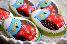 Pysanka egg with  Owl Patchwork   Polish easter by Bettineum, $25.00