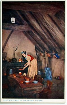 Real Photo Postcard - The House of the Seven Dwarfs as built at Olympia - Snow White in the Kitchen