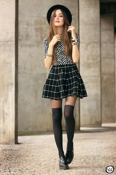 360426791ff Black And White Outfit Polka Dots Top Plaid Skirt! Thigh High Socks Outfit
