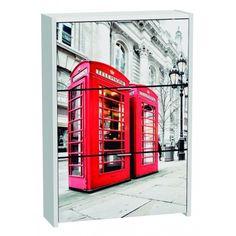 Armario Zapatero de tres Trampones Blanco London en material de aglomerado melaminizado viene decorado con una fotografia de las famosas cabinas telefonicas de la capital Inglesa.
