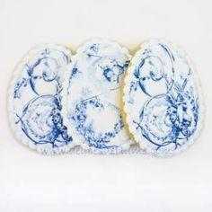 Biscuits décorés œufs de Pâques toile de Jouy