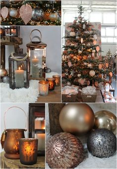 warm and cosy christmas theme in copper grey and brown tones - Copper Christmas Decorations